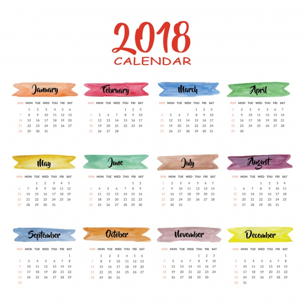 Calendar 2018 multicolor design  Vector |  Download
