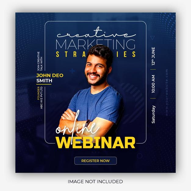 PSD | Digital marketing live webinar and corporate social media post template