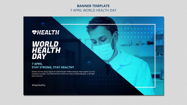 PSD | World health day horizontal banner template with photo