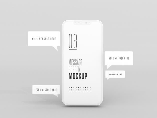 PSD | Chat messaging conversation on mobile phone mockup
