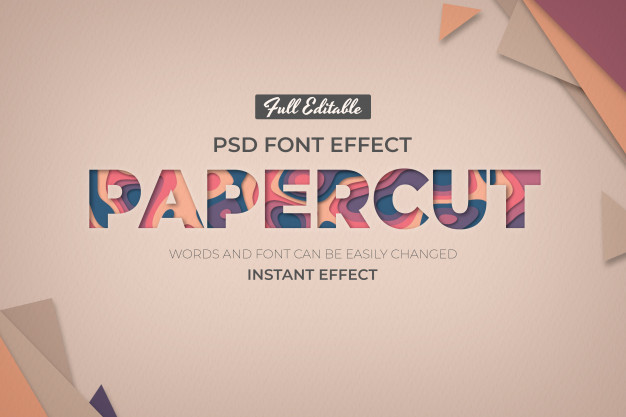 PSD | Editable text effect in paper style