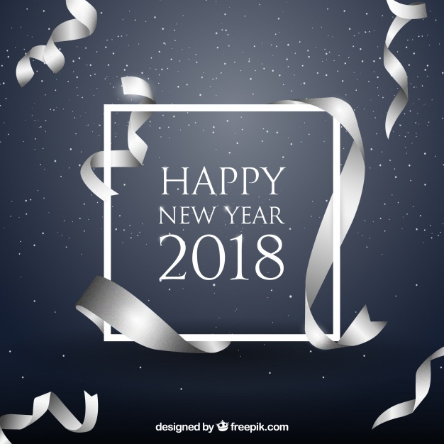 New year background with realistic silver ribbon  Vector |  Download