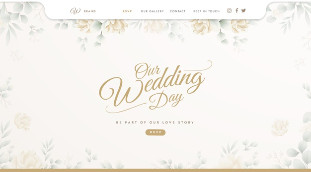 Vector | Landing page template for wedding