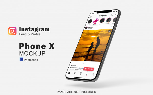 Realistic smartphone mockup for your social media preview | Premium PSD File