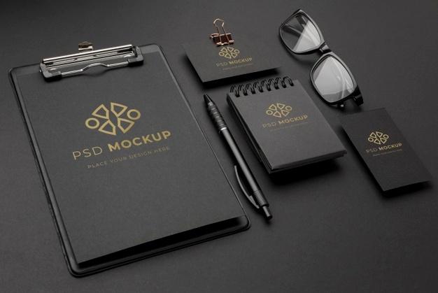 PSD | Stationery dark and copper mockup