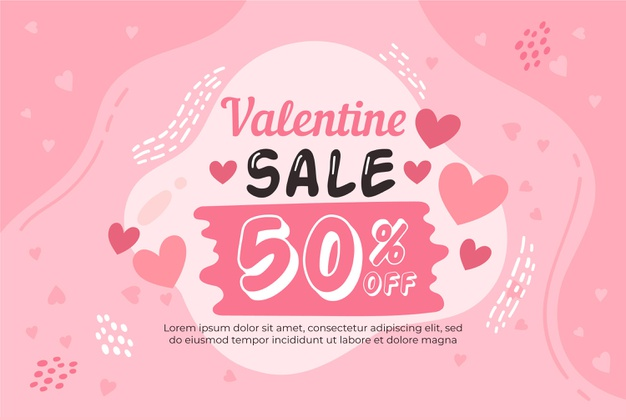 Vector | Hand drawn valentine's day sale with discount