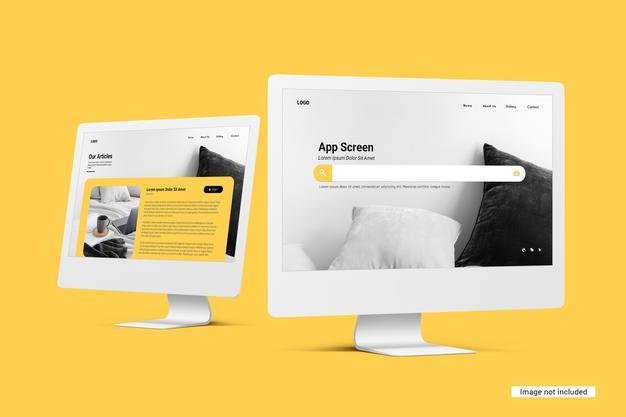 PSD | Unicolor desktop screen mockup