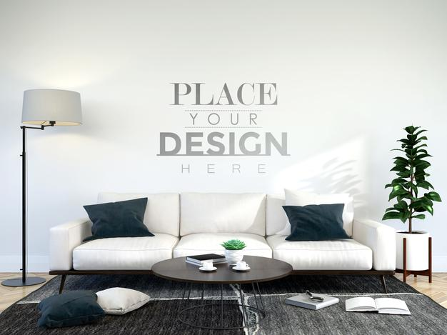 PSD | Modern living room interior wall mockup