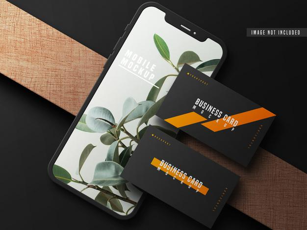 PSD | Business card with mobile phone mockup psd