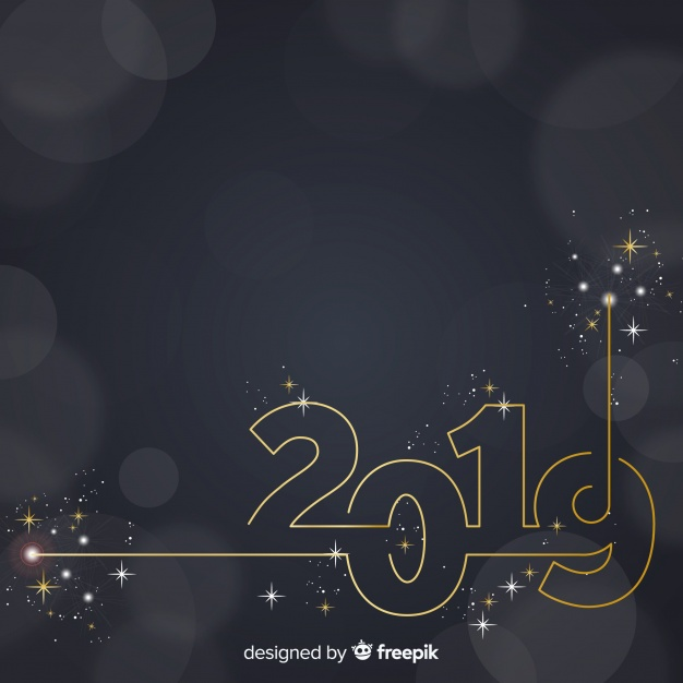 Sparkling number new year background  Vector |  Download