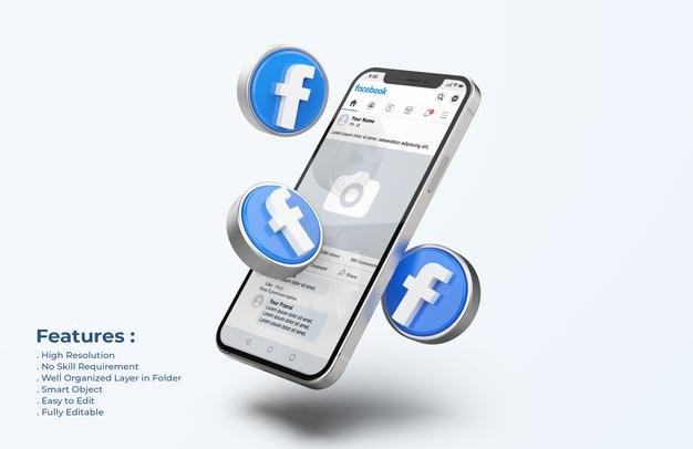 PSD | Facebook on mobile phone mockup with 3d icons