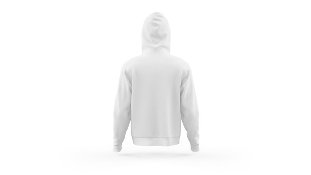 PSD | White hoodie mockup template isolated, back view