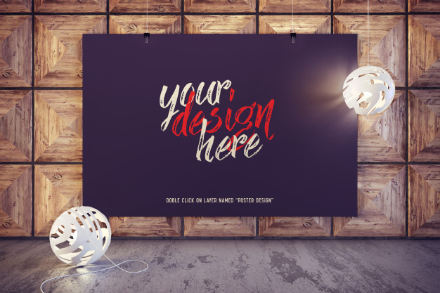 Mockup of poster hanging in a modern interior |  PSD File