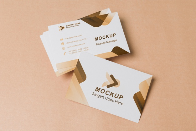PSD | Above view business cards mock-up