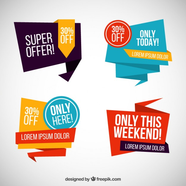 Origami sale banners  Vector |  Download