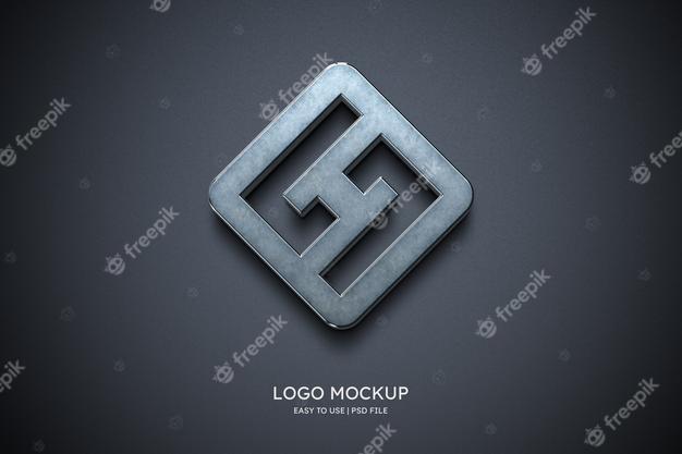 PSD | Logo mockup on grey wall