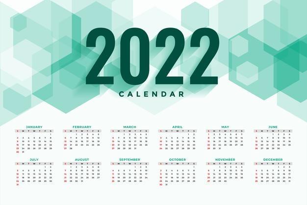 Vector | Hexagonal style new year 2022 calendar template