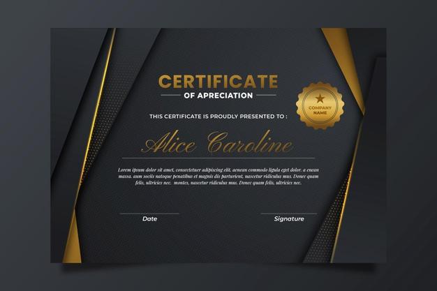 Vector | Gradient elegant certificate with golden details