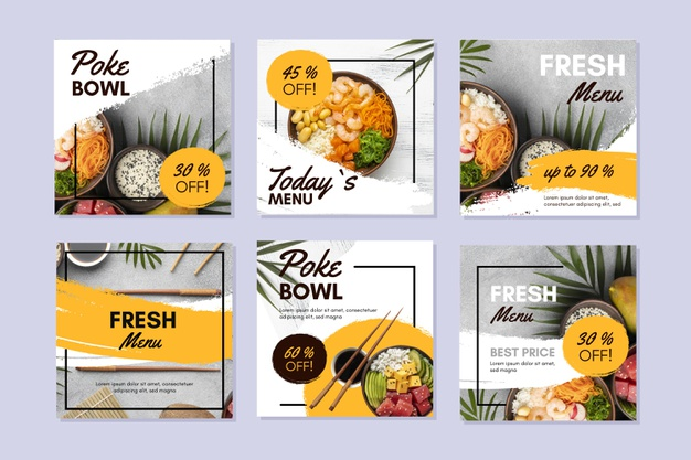 Vector | Poke bowl instagram posts collection