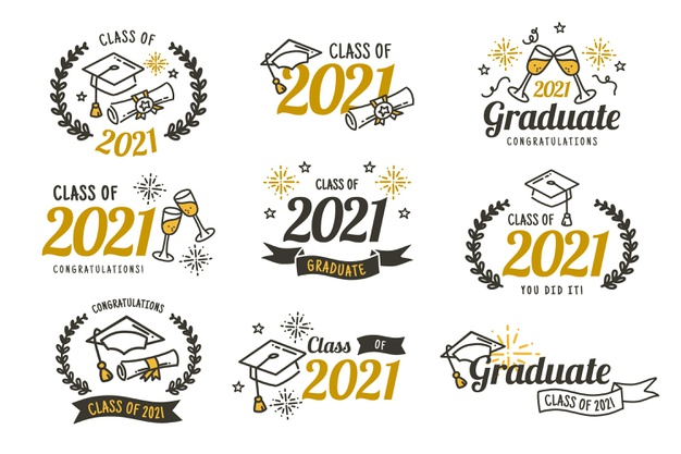 Vector | Flat class of 2021 badge collection