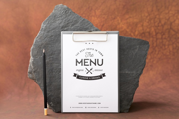 Food menu concept mock-up |  PSD File