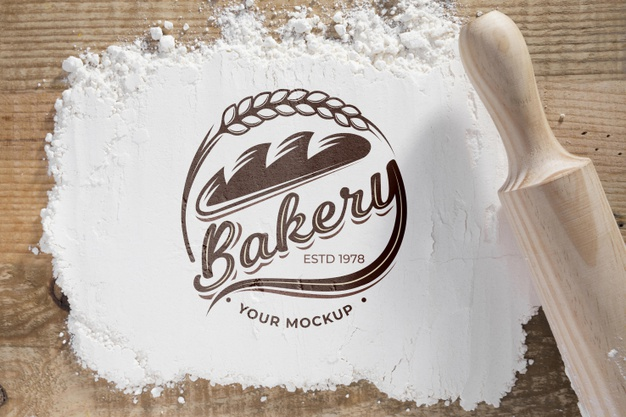 Top view bakery flower with mock-up |  PSD File