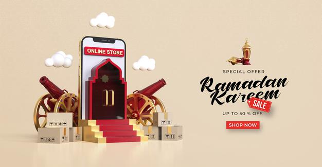 PSD | Ramadan kareem sale banner template with 3d online shopping on mobile applications