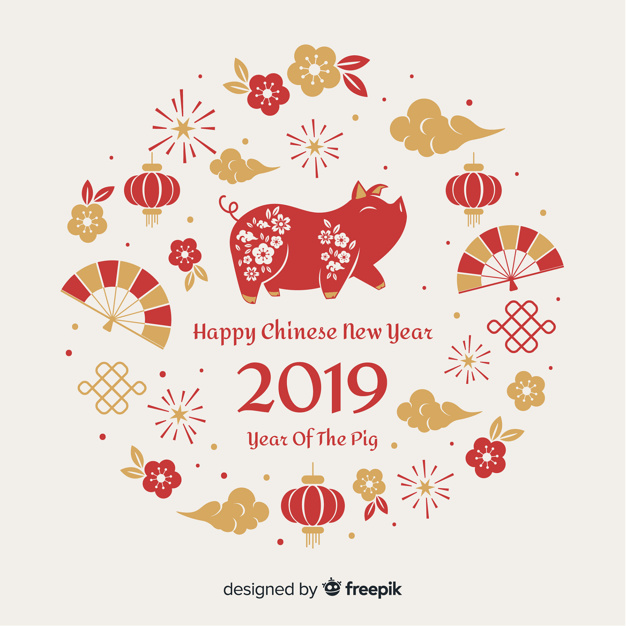 Chinese new year elements background  Vector |  Download