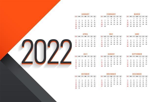 Vector | Simple new year 2022 calendar design template