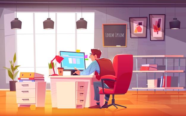 Vector | Cartoon working day scene illustration