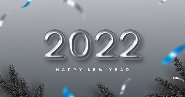 Vector | 2022 happy new year banner. hand writing 3d metallic numbers 2022 with pine branches. monochrome background with blue contrast. vector illustration.