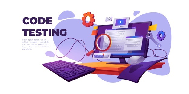 Vector   Code testing cartoon banner. functional test, methodology of programming, search errors and bugs, website platform development, dashboard usability optimization for computer pc vector illustration