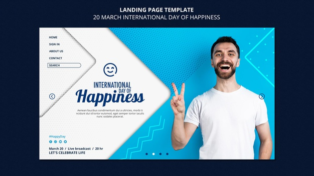 PSD | International day of happiness web template