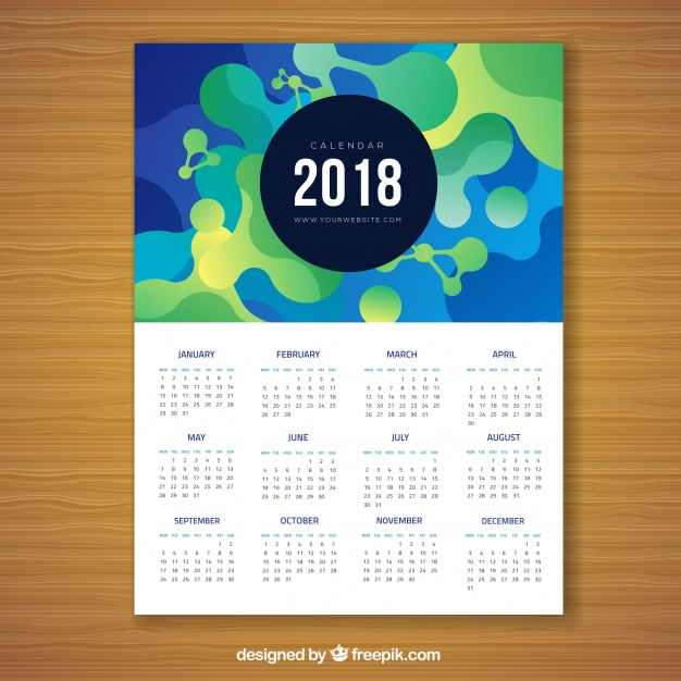 2018 abstract calendar  Vector |  Download