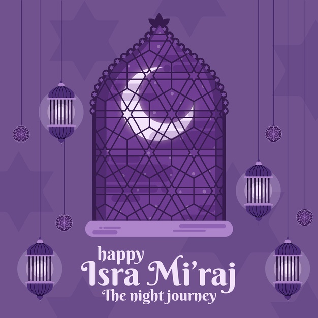 Vector | Isra miraj illustration with moon