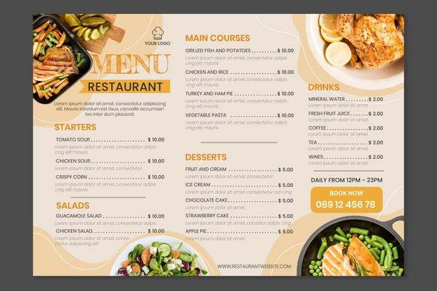 Vector | Organic flat rustic restaurant menu template with photo