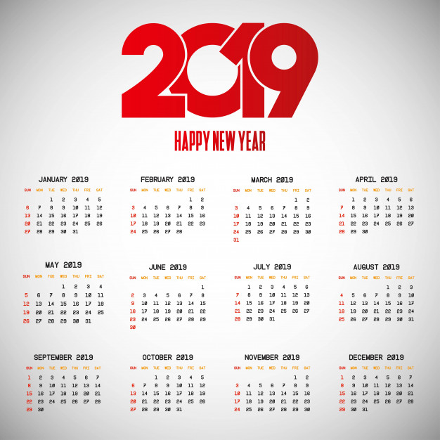 2019 calendar design with light background vector  Vector |  Download