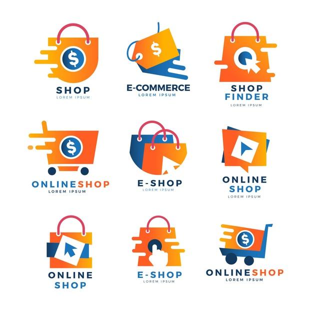 Vector | Creative online shop logo templates