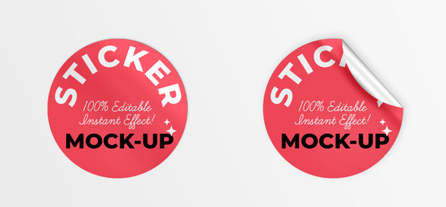 PSD | Rounded stickers mockup