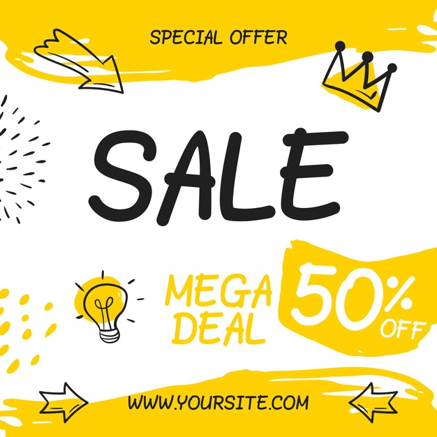 Vector | Hand drawn sales square flyer