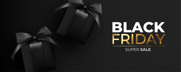 Vector | Black friday banner with realistic black presents