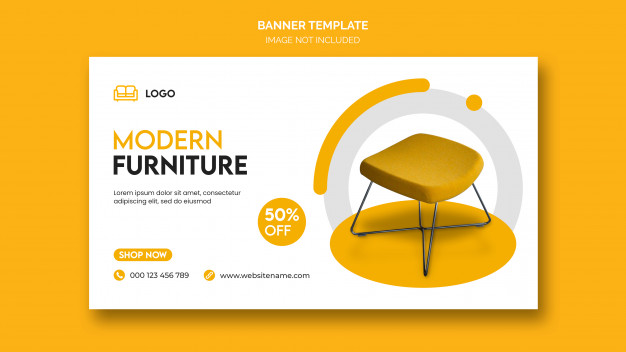 PSD | Horizontal banner or facebook cover with minimal design and home furniture discount
