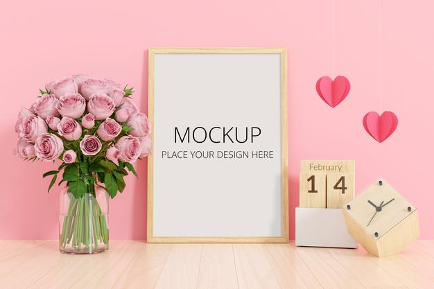 PSD | Flower in vase with frame mockup