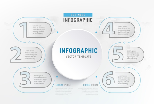 Vector | Infograph 6 step element. circle graphic chart diagram, business graph design.