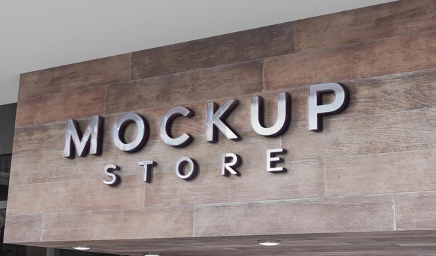 PSD | Front view of business mockup sign design