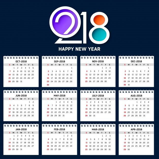 Modern calendar template for 2018  Vector |  Download