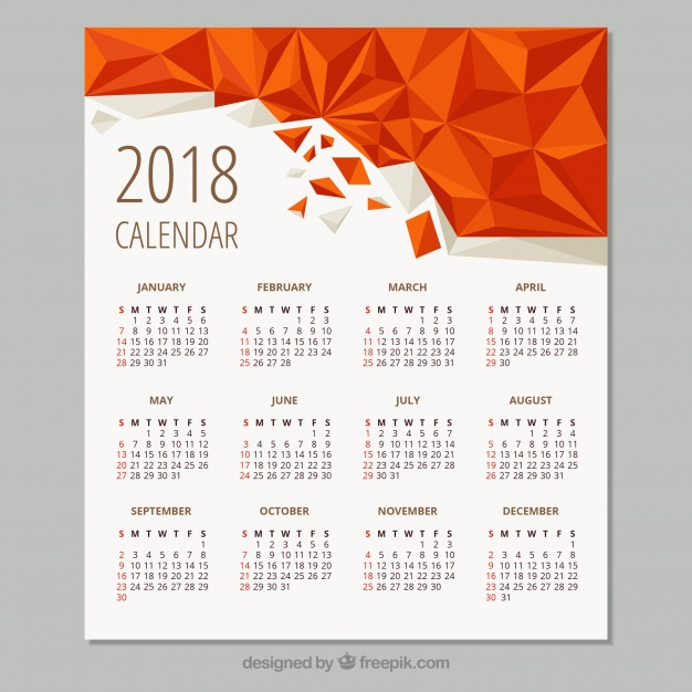 geometric calendar 2018  Vector |  Download
