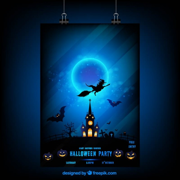 Halloween night poster with a witch and haunted house  Vector |  Download