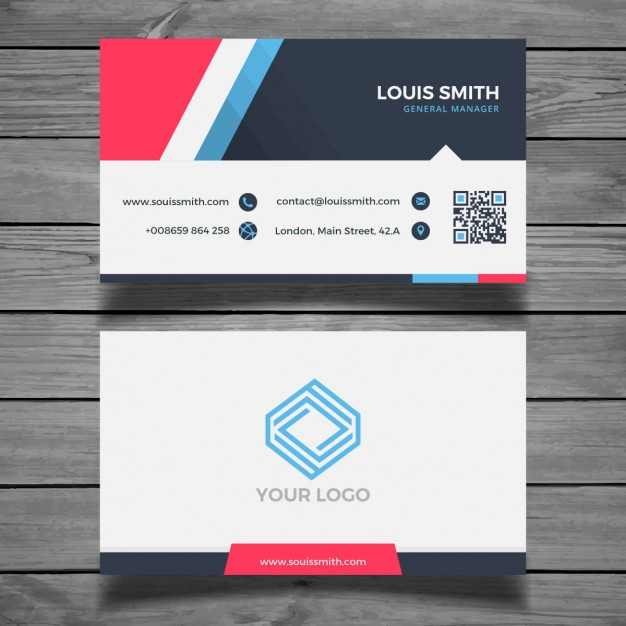Modern colorful business card template  Vector |  Download