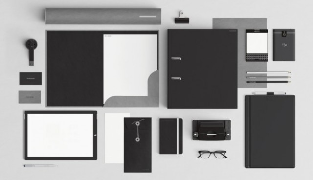 Black corporative stationery with office elements  PSD file |  Download